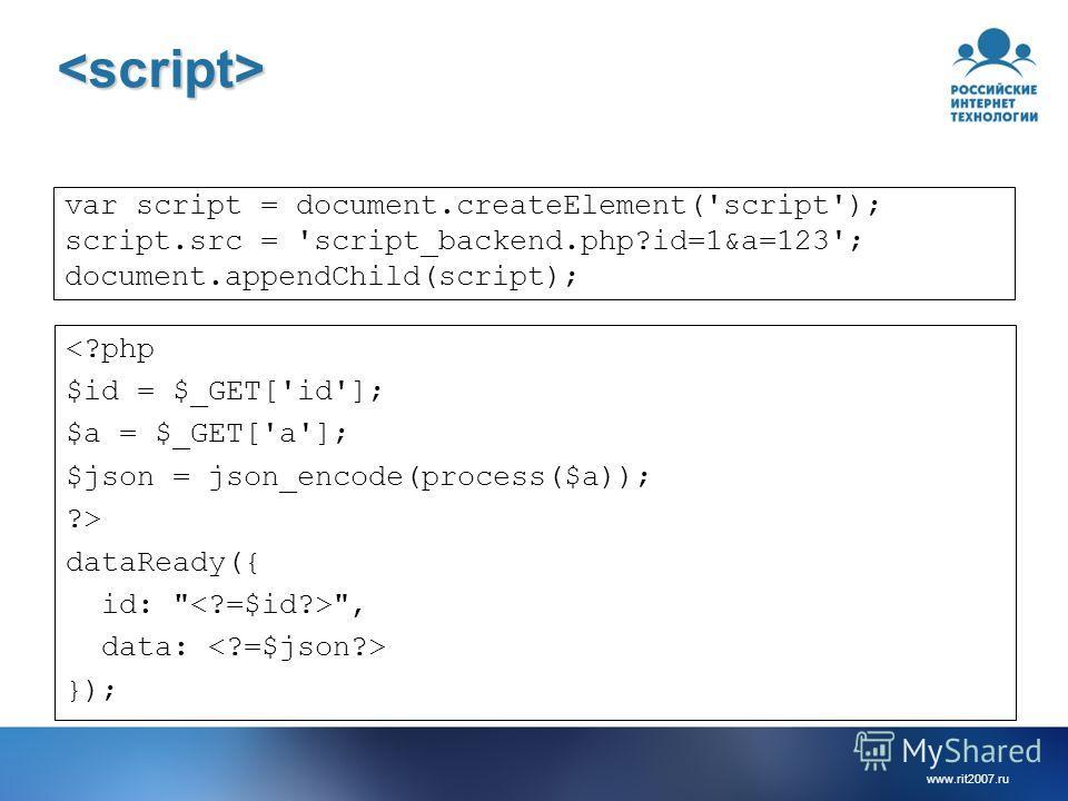 www.rit2007.ru var script = document.createElement('script'); script.src = 'script_backend.php?id=1&a=123'; document.appendChild(script);  dataReady({ id:  , data: });