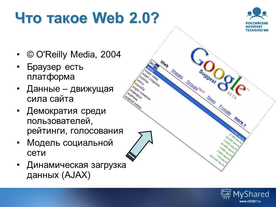 www.rit2007.ru Что такое Web 2.0? © O'Reilly Media, 2004 Браузер есть платформа Данные – движущая сила сайта Демократия среди пользователей, рейтинги, голосования Модель социальной сети Динамическая загрузка данных (AJAX)