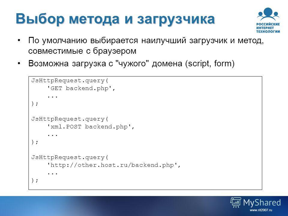 www.rit2007.ru Выбор метода и загрузчика JsHttpRequest.query( 'GET backend.php',... ); JsHttpRequest.query( 'xml.POST backend.php',... ); JsHttpRequest.query( 'http://other.host.ru/backend.php',... ); По умолчанию выбирается наилучший загрузчик и мет