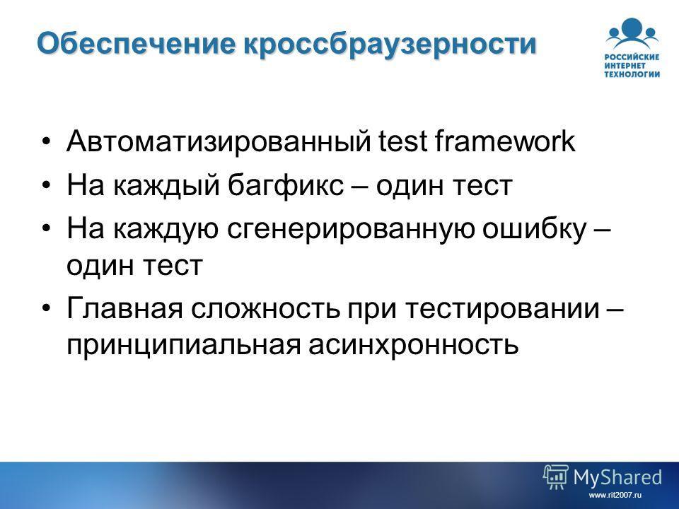 www.rit2007.ru Обеспечение кроссбраузерности Автоматизированный test framework На каждый багфикс – один тест На каждую сгенерированную ошибку – один тест Главная сложность при тестировании – принципиальная асинхронность