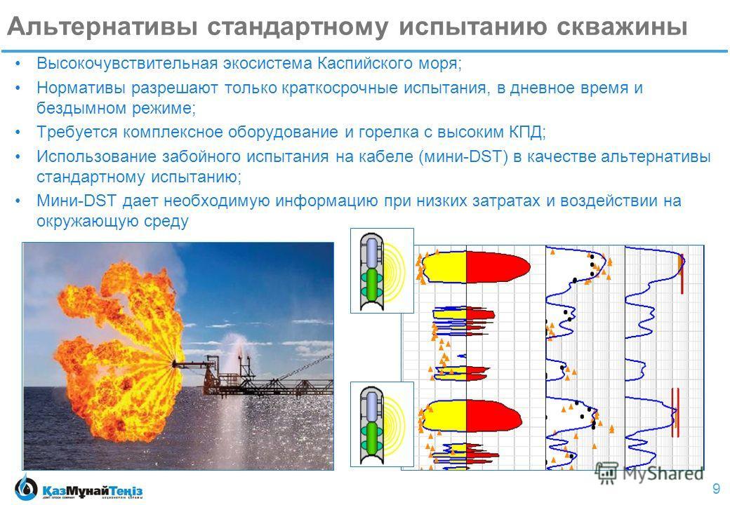9 Альтернативы стандартному испытанию скважины Высокочувствительная экосистема Каспийского моря; Нормативы разрешают только краткосрочные испытания, в дневное время и бездымном режиме; Требуется комплексное оборудование и горелка с высоким КПД; Испол