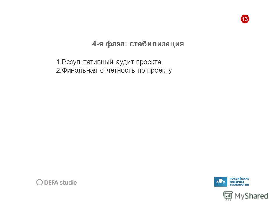 13 4-я фаза: стабилизация 1.Результативный аудит проекта. 2.Финальная отчетность по проекту