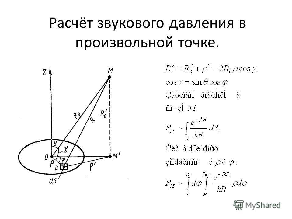 Расчёт звукового давления в произвольной точке.