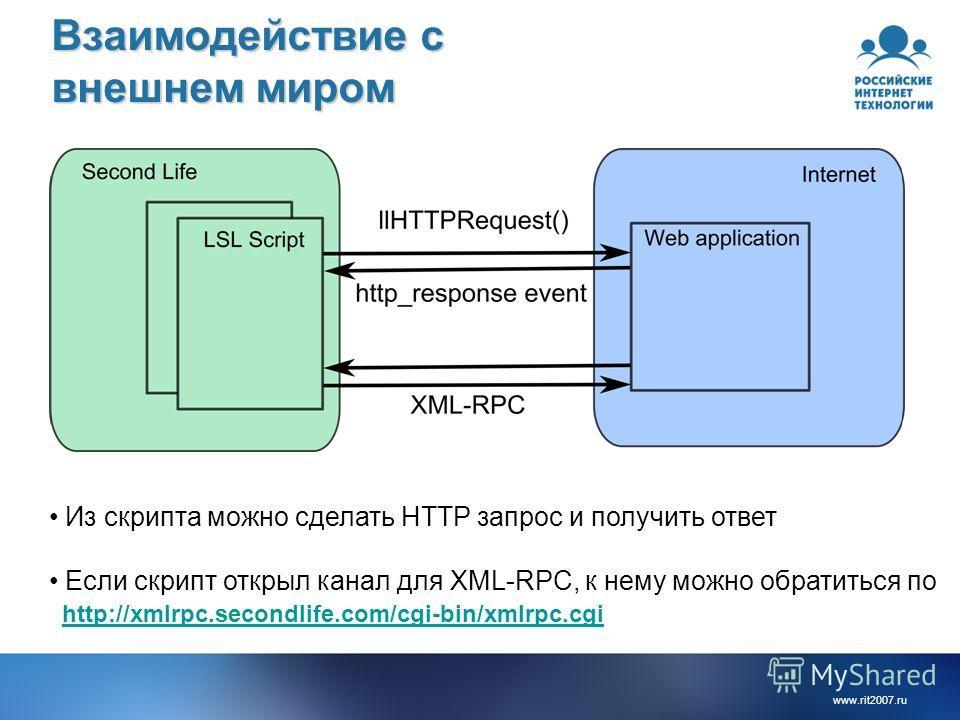 www.rit2007.ru Взаимодействие с внешнем миром Из скрипта можно сделать HTTP запрос и получить ответ Если скрипт открыл канал для XML-RPC, к нему можно обратиться по http://xmlrpc.secondlife.com/cgi-bin/xmlrpc.cgi