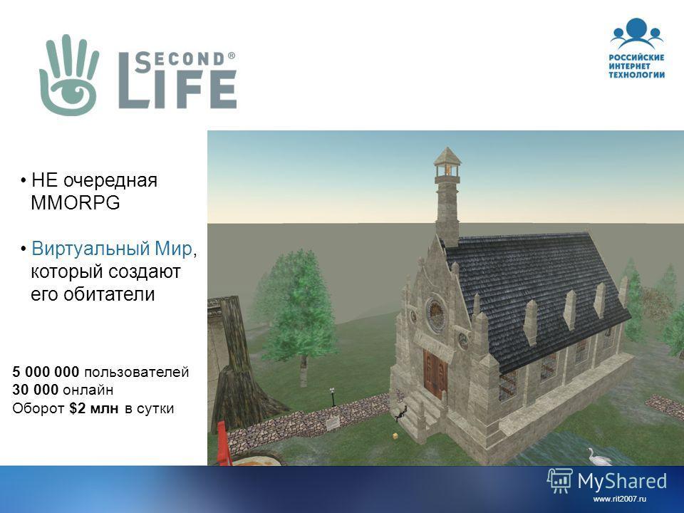 www.rit2007.ru НЕ очередная MMORPG Виртуальный Мир, который создают его обитатели 5 000 000 пользователей 30 000 онлайн Оборот $2 млн в сутки