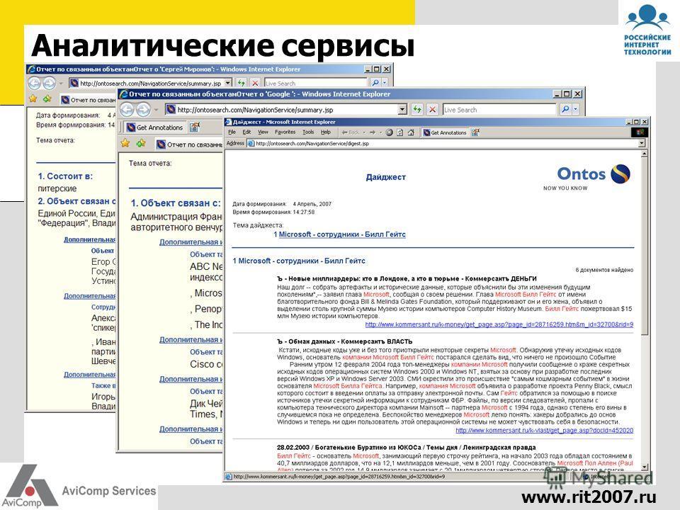 www.rit2007.ru Аналитические сервисы