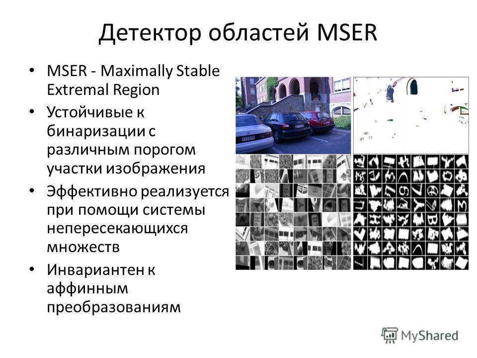Детектор областей MSER MSER - Maximally Stable Extremal Region Устойчивые к бинаризации с различным порогом участки изображения Эффективно реализуется при помощи системы непересекающихся множеств Инвариантен к аффинным преобразованиям