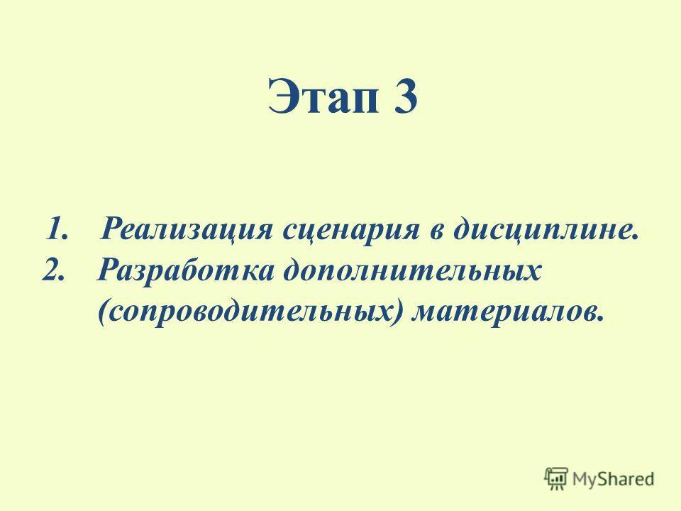 Этап 3 1.Реализация сценария в дисциплине. 2.Разработка дополнительных (сопроводительных) материалов.