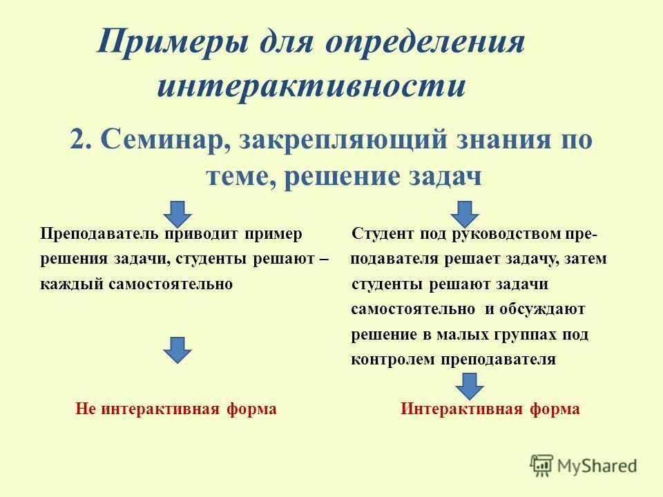 Примеры для определения интерактивности 2. Семинар, закрепляющий знания по теме, решение задач Преподаватель приводит пример Студент под руководством пре- решения задачи, студенты решают – подавателя решает задачу, затем каждый самостоятельно студент