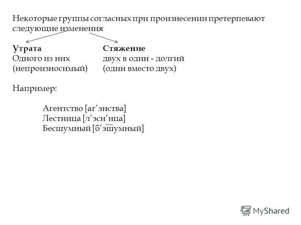 Некоторые группы согласных при произнесении претерпевают следующие изменения УтратаСтяжение Одного из нихдвух в один - долгий (непроизносимый)(один вместо двух) Например: Агентство [агэнства] Лестница [лэсница] Бесшумный [бэшумный]