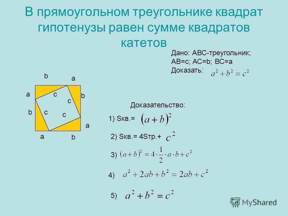 В прямоугольном треугольнике квадрат гипотенузы равен сумме квадратов катетов Дано: АВС-треугольник; АВ=с; АС=b; ВС=a Доказать: а bc b b a b ac c c Доказательство: 1) Sкв.= 2) Sкв.= 4Sтр.+ 3) 4) 5) a