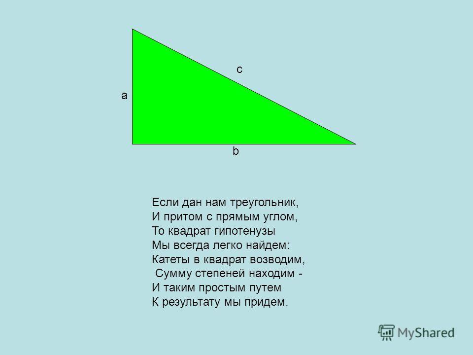 Если дан нам треугольник, И притом с прямым углом, То квадрат гипотенузы Мы всегда легко найдем: Катеты в квадрат возводим, Сумму степеней находим - И таким простым путем К результату мы придем. а b с