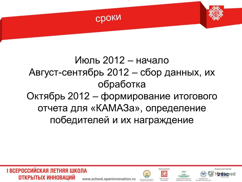 Июль 2012 – начало Август-сентябрь 2012 – сбор данных, их обработка Октябрь 2012 – формирование итогового отчета для «КАМАЗа», определение победителей и их награждение сроки