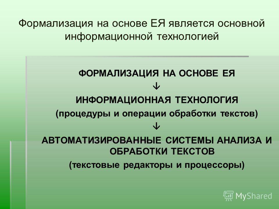 Формализация на основе ЕЯ является основной информационной технологией ФОРМАЛИЗАЦИЯ НА ОСНОВЕ ЕЯ ИНФОРМАЦИОННАЯ ТЕХНОЛОГИЯ (процедуры и операции обработки текстов) АВТОМАТИЗИРОВАННЫЕ СИСТЕМЫ АНАЛИЗА И ОБРАБОТКИ ТЕКСТОВ (текстовые редакторы и процессо