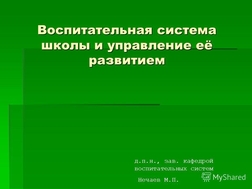 Воспитательная система школы и управление её развитием д.п.н., зав. кафедрой воспитательных систем Нечаев М.П.