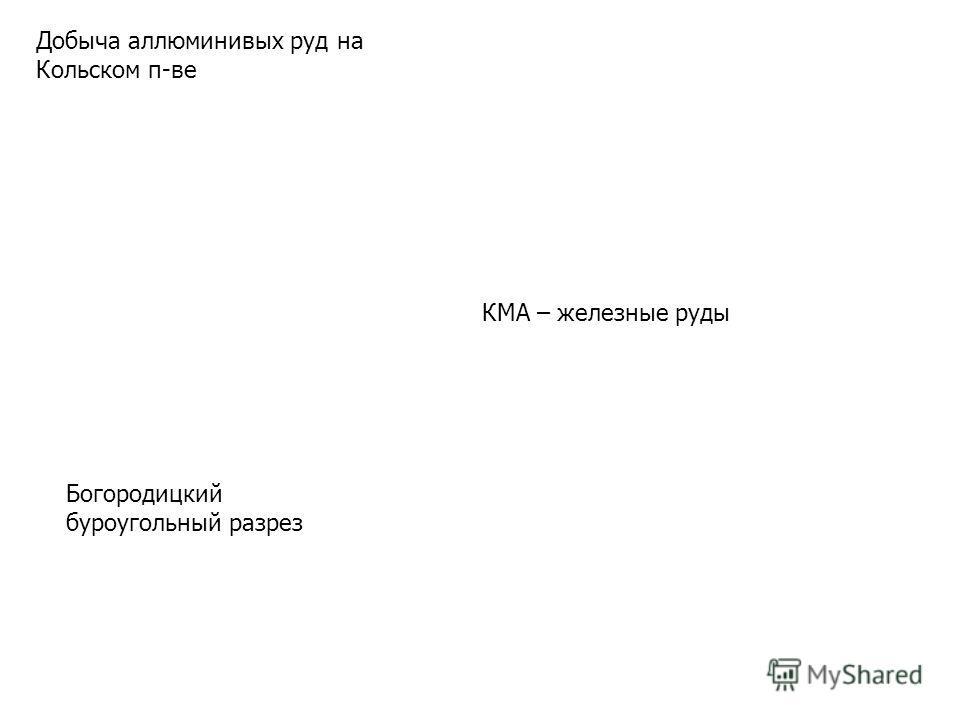 Добыча аллюминивых руд на Кольском п-ве Богородицкий буроугольный разрез КМА – железные руды