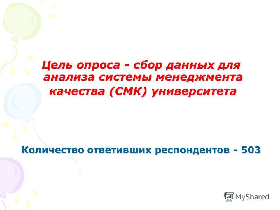 Цель опроса - сбор данных для анализа системы менеджмента качества (СМК) университета Количество ответивших респондентов - 503