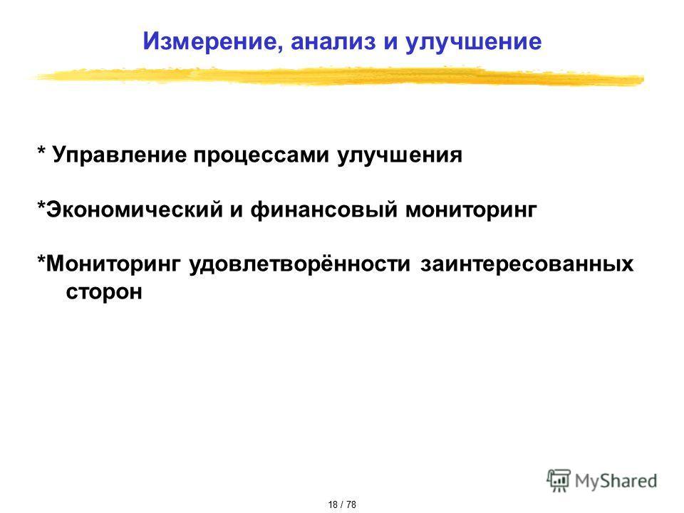 * Управление процессами улучшения *Экономический и финансовый мониторинг *Мониторинг удовлетворённости заинтересованных сторон Измерение, анализ и улучшение 18 / 78