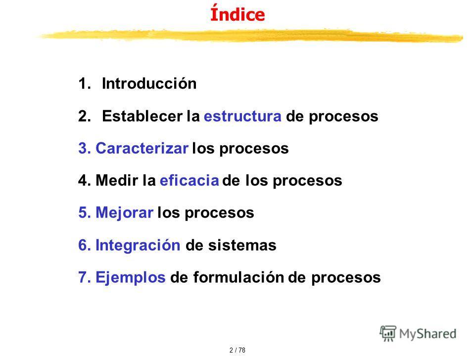 Índice 1.Introducción 2.Establecer la estructura de procesos 3. Caracterizar los procesos 4. Medir la eficacia de los procesos 5. Mejorar los procesos 6. Integración de sistemas 7. Ejemplos de formulación de procesos 2 / 78