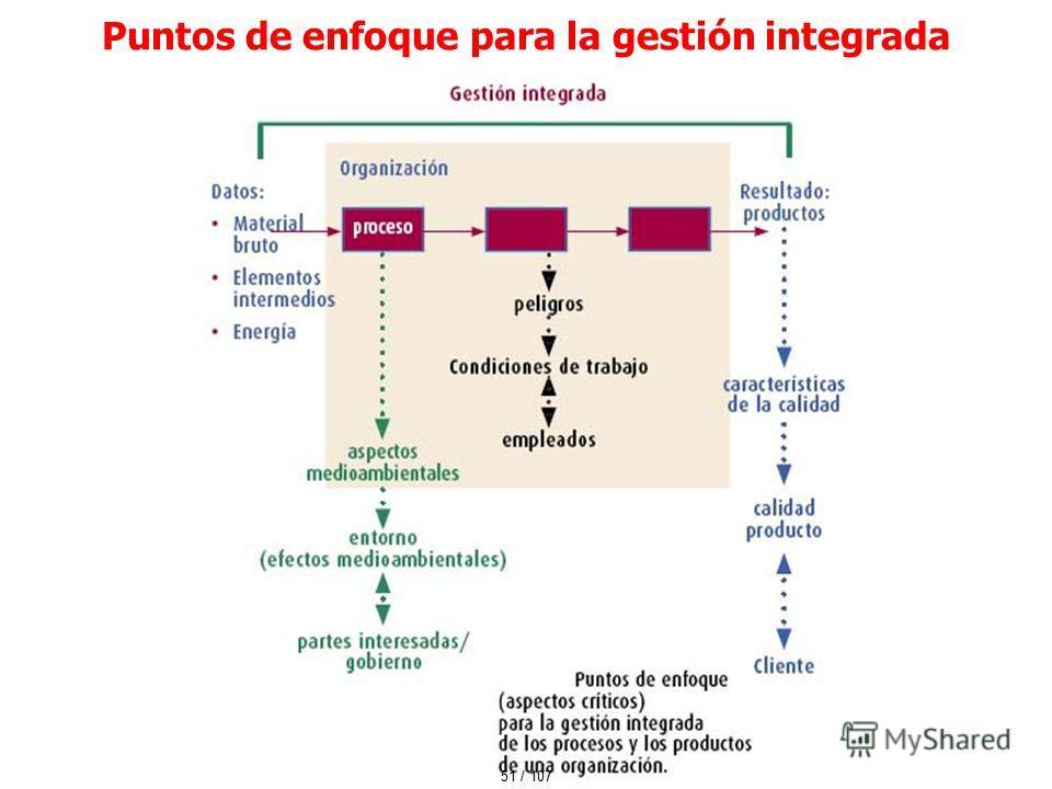 51 / 107 Puntos de enfoque para la gestión integrada