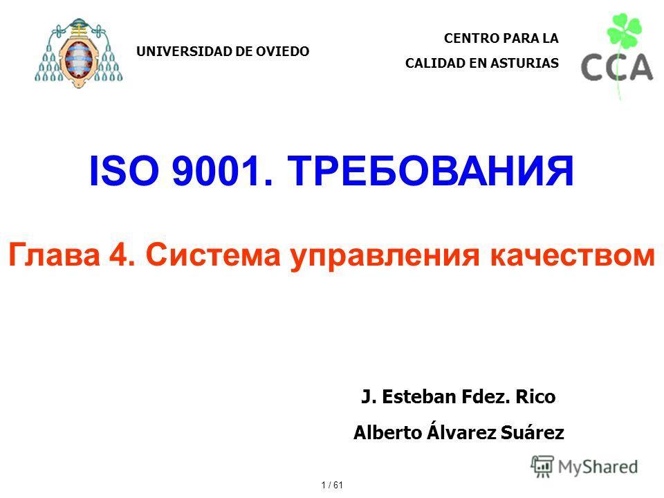 ISO 9001. ТРЕБОВАНИЯ Глава 4. Система управления качеством J. Esteban Fdez. Rico Alberto Álvarez Suárez UNIVERSIDAD DE OVIEDO CENTRO PARA LA CALIDAD EN ASTURIAS 1 / 61