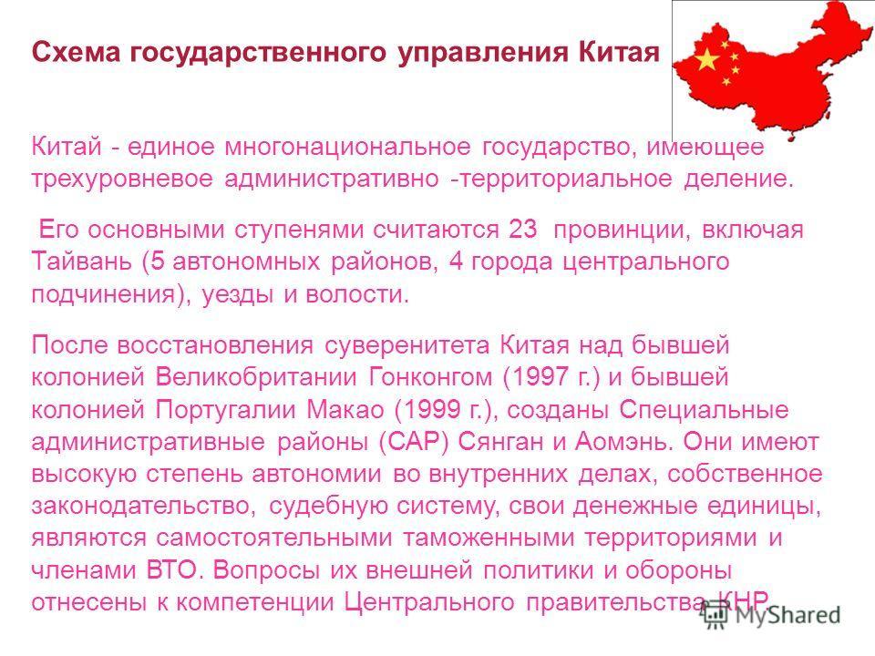 Схема государственного управления Китая Китай - единое многонациональное государство, имеющее трехуровневое административно -территориальное деление. Его основными ступенями считаются 23 провинции, включая Тайвань (5 автономных районов, 4 города цент