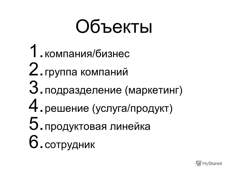 Объекты 1. компания/бизнес 2. группа компаний 3. подразделение (маркетинг) 4. решение (услуга/продукт) 5. продуктовая линейка 6. сотрудник