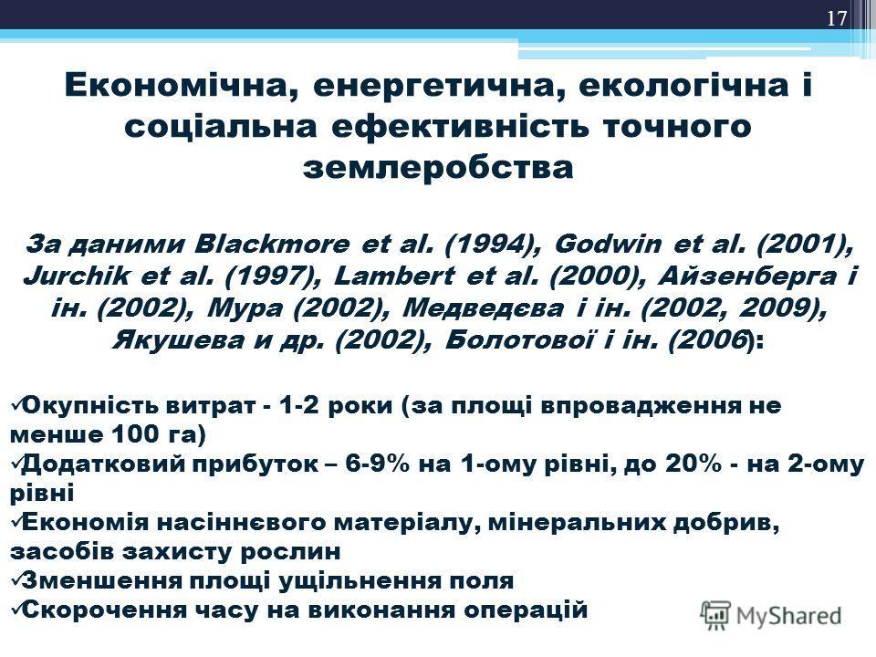 17 Економічна, енергетична, екологічна і соціальна ефективність точного землеробства За даними Blackmore et al. (1994), Godwin et al. (2001), Jurchik et al. (1997), Lambert et al. (2000), Айзенберга і ін. (2002), Мура (2002), Медведєва і ін. (2002, 2