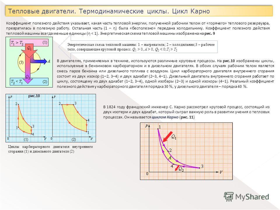 Тепловые двигатели. Термодинамические циклы. Цикл Карно Коэффициент полезного действия указывает, какая часть тепловой энергии, полученной рабочим телом от «горячего» теплового резервуара, превратилась в полезную работу. Остальная часть (1 – η) была