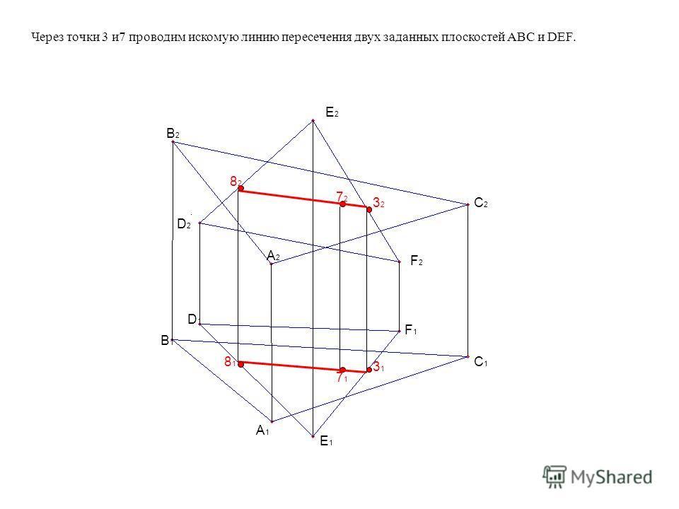 - для определения второй точки линии пересечения выбираем, например, вспомогательную секущую плоскость горизонтально проецирующую ( П 1 ), проходящую через точку В и пересекающую заданные плоскости в точках 4,5,6. Строим фронтальные проекции линий пе