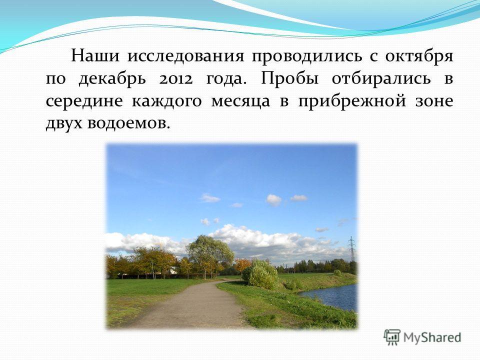 Наши исследования проводились с октября по декабрь 2012 года. Пробы отбирались в середине каждого месяца в прибрежной зоне двух водоемов.