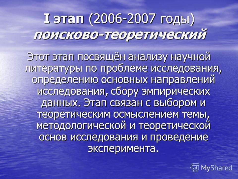 I этап (2006-2007 годы) поисково-теоретический Этот этап посвящён анализу научной литературы по проблеме исследования, определению основных направлений исследования, сбору эмпирических данных. Этап связан с выбором и теоретическим осмыслением темы, м