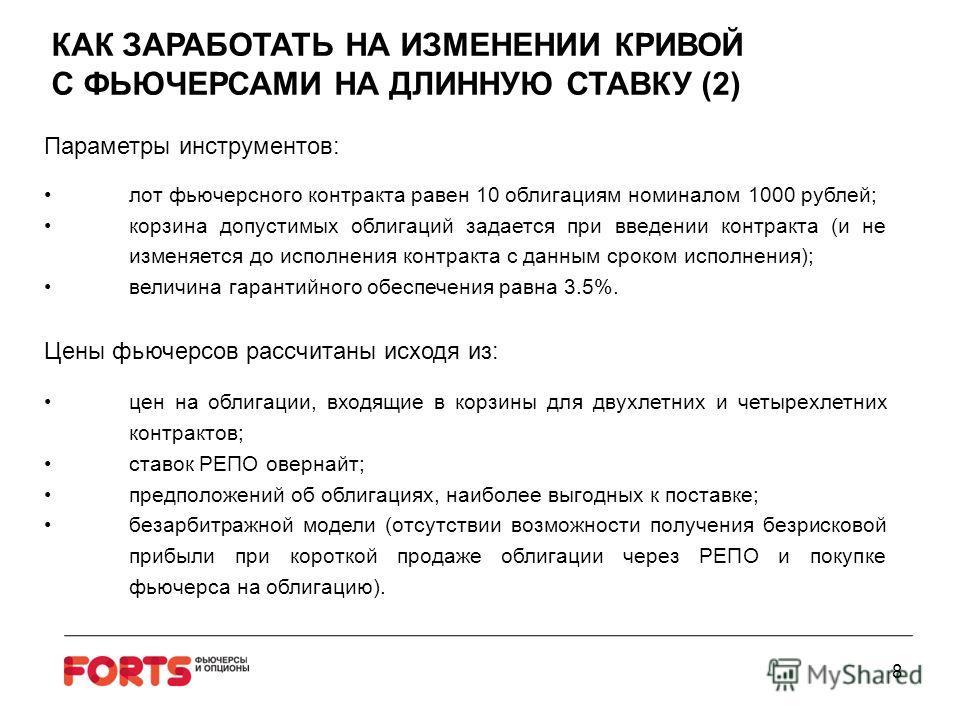 8 Параметры инструментов: лот фьючерсного контракта равен 10 облигациям номиналом 1000 рублей; корзина допустимых облигаций задается при введении контракта (и не изменяется до исполнения контракта с данным сроком исполнения); величина гарантийного об