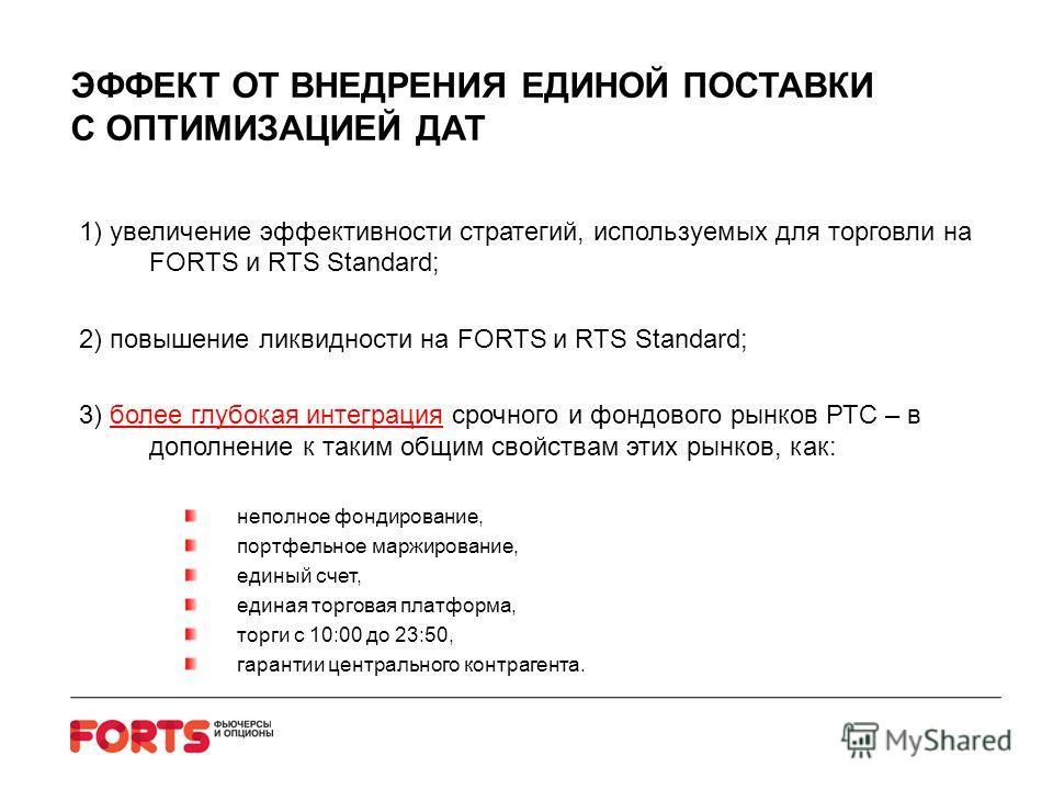 ЭФФЕКТ ОТ ВНЕДРЕНИЯ ЕДИНОЙ ПОСТАВКИ С ОПТИМИЗАЦИЕЙ ДАТ 1) увеличение эффективности стратегий, используемых для торговли на FORTS и RTS Standard; 2) повышение ликвидности на FORTS и RTS Standard; 3) более глубокая интеграция срочного и фондового рынко