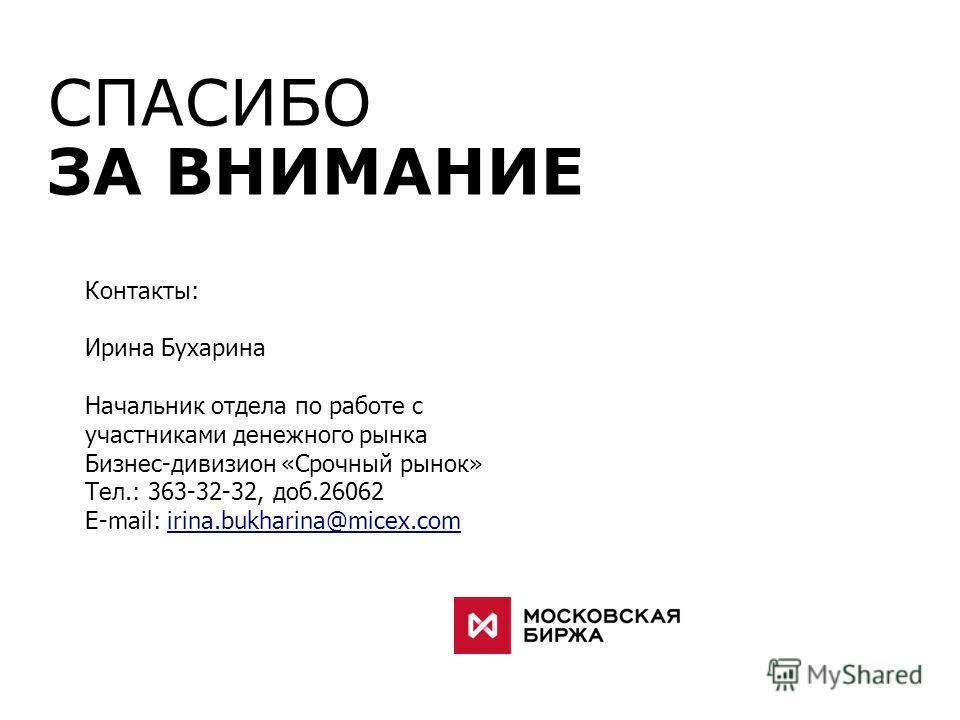 СПАСИБО ЗА ВНИМАНИЕ Контакты: Ирина Бухарина Начальник отдела по работе с участниками денежного рынка Бизнес-дивизион «Срочный рынок» Тел.: 363-32-32, доб.26062 E-mail: irina.bukharina@micex.comirina.bukharina@micex.com