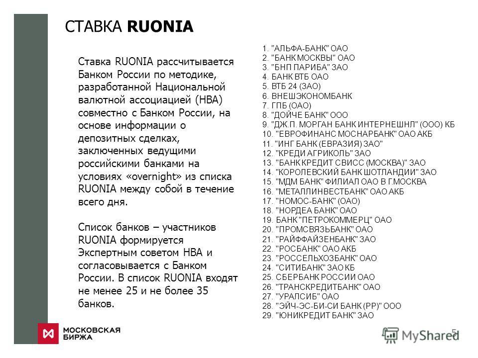 СТАВКА RUONIA 5 Ставка RUONIA рассчитывается Банком России по методике, разработанной Национальной валютной ассоциацией (НВА) совместно с Банком России, на основе информации о депозитных сделках, заключенных ведущими российскими банками на условиях «