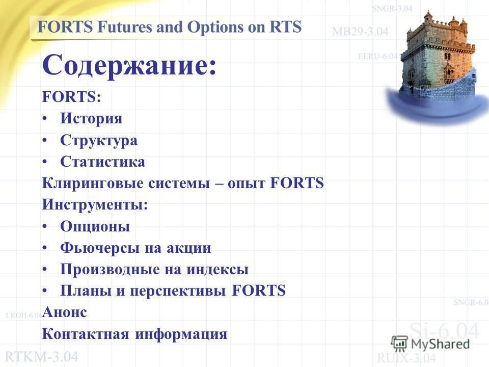 Содержание: FORTS: История Структура Статистика Клиринговые системы – опыт FORTS Инструменты: Опционы Фьючерсы на акции Производные на индексы Планы и перспективы FORTS Анонс Контактная информация
