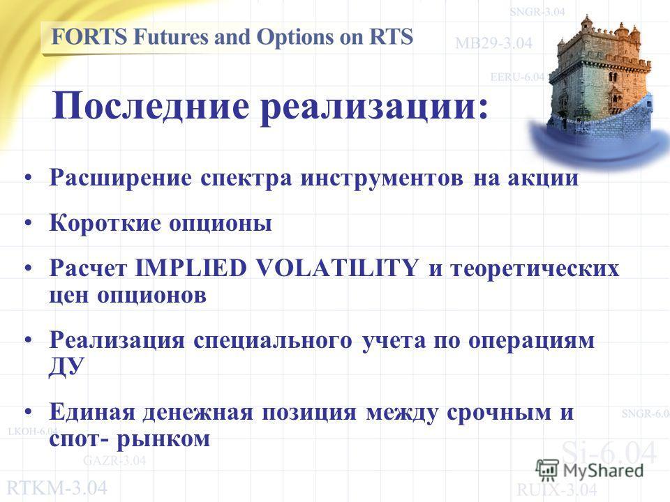 Последние реализации: Расширение спектра инструментов на акции Короткие опционы Расчет IMPLIED VOLATILITY и теоретических цен опционов Реализация специального учета по операциям ДУ Единая денежная позиция между срочным и спот- рынком
