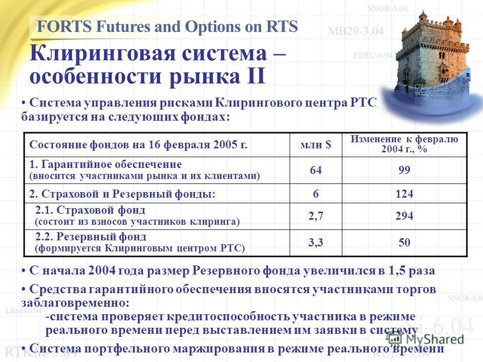 С начала 2004 года размер Резервного фонда увеличился в 1,5 раза Средства гарантийного обеспечения вносятся участниками торгов заблаговременно: -система проверяет кредитоспособность участника в режиме реального времени перед выставлением им заявки в