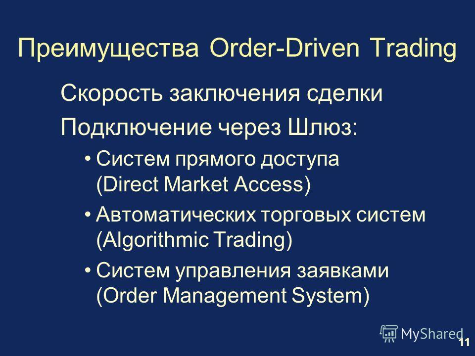 11 Преимущества Order-Driven Trading Скорость заключения сделки Подключение через Шлюз: Систем прямого доступа (Direct Market Access) Автоматических торговых систем (Algorithmic Trading) Систем управления заявками (Order Management System)