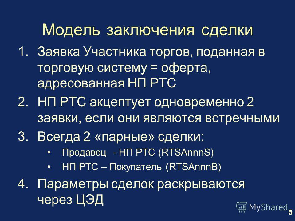 5 Модель заключения сделки 1.Заявка Участника торгов, поданная в торговую систему = оферта, адресованная НП РТС 2.НП РТС акцептует одновременно 2 заявки, если они являются встречными 3.Всегда 2 «парные» сделки: Продавец - НП РТС (RTSAnnnS) НП РТС – П