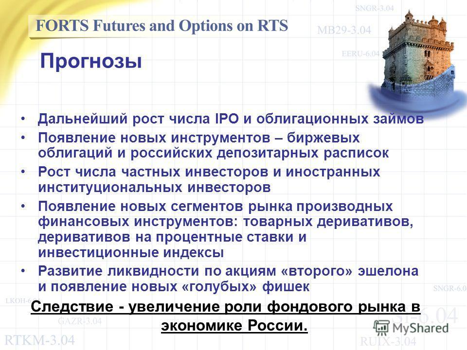 Прогнозы Дальнейший рост числа IPO и облигационных займов Появление новых инструментов – биржевых облигаций и российских депозитарных расписок Рост числа частных инвесторов и иностранных институциональных инвесторов Появление новых сегментов рынка пр