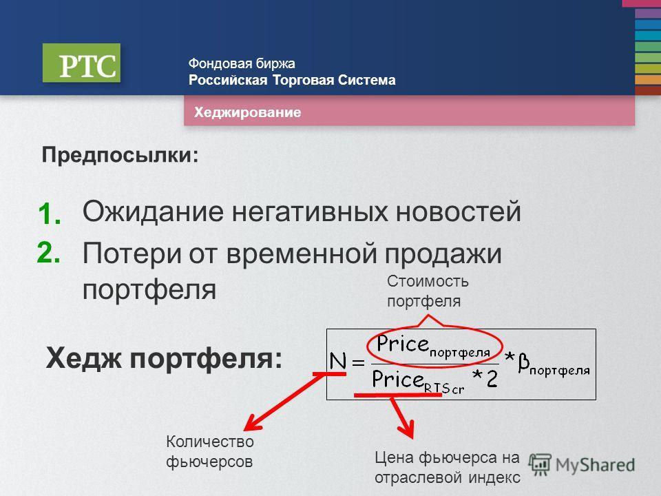 Хеджирование Фондовая биржа Российская Торговая Система 1.1. Предпосылки: Ожидание негативных новостей 2.2. Потери от временной продажи портфеля Хедж портфеля: Количество фьючерсов Стоимость портфеля Цена фьючерса на отраслевой индекс