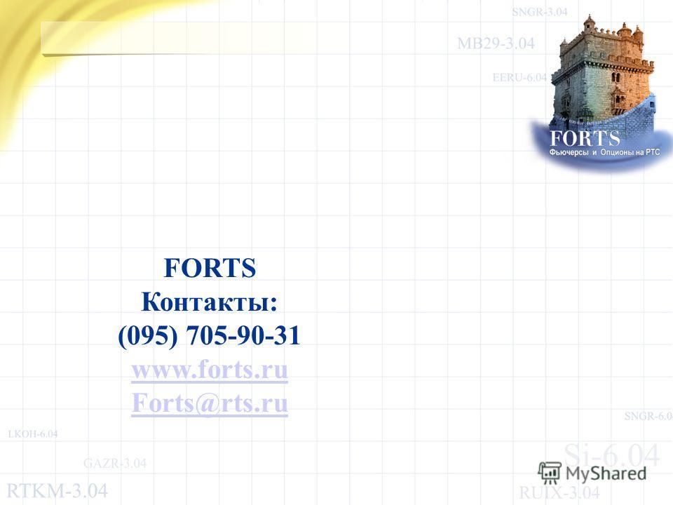 FORTS Контакты: (095) 705-90-31 www.forts.ru Forts@rts.ru