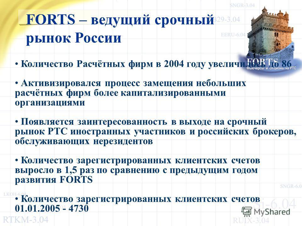 Количество Расчётных фирм в 2004 году увеличилось до 86 Активизировался процесс замещения небольших расчётных фирм более капитализированными организациями Появляется заинтересованность в выходе на срочный рынок РТС иностранных участников и российских