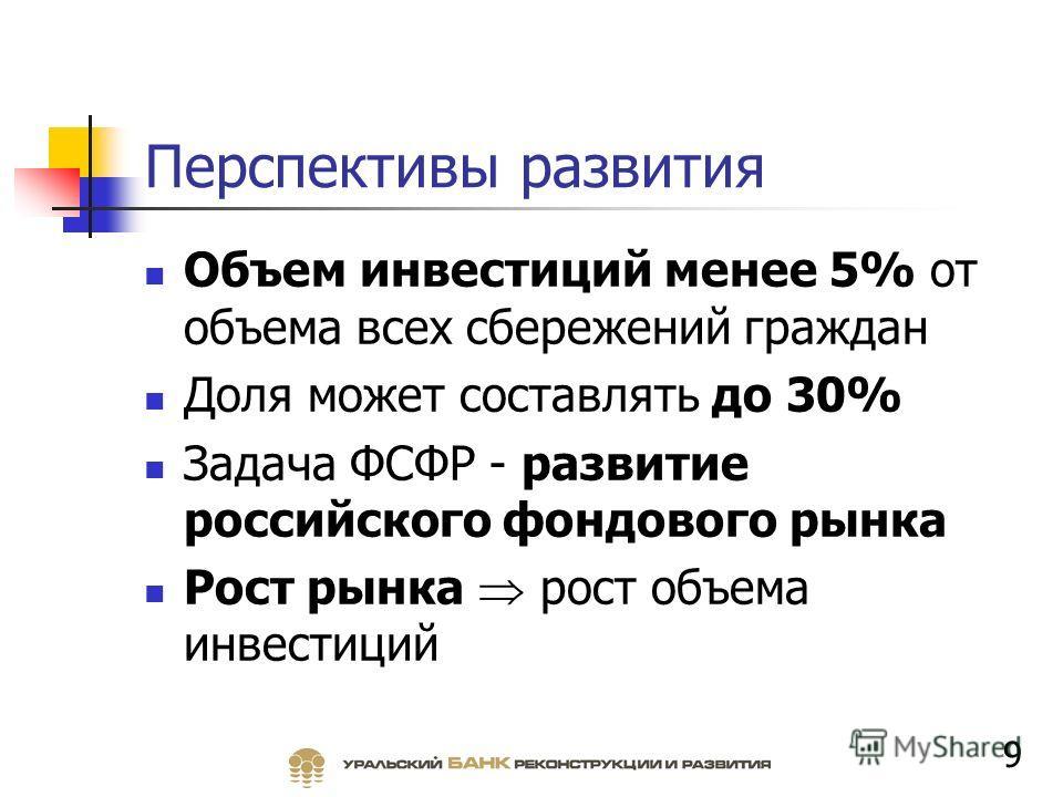 Перспективы развития Объем инвестиций менее 5% от объема всех сбережений граждан Доля может составлять до 30% Задача ФСФР - развитие российского фондового рынка Рост рынка рост объема инвестиций 9