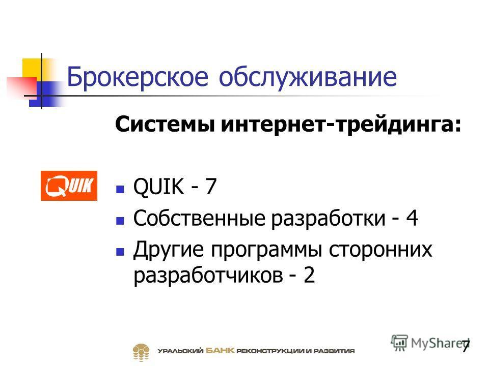 Брокерское обслуживание Системы интернет-трейдинга: QUIK - 7 Собственные разработки - 4 Другие программы сторонних разработчиков - 2 7
