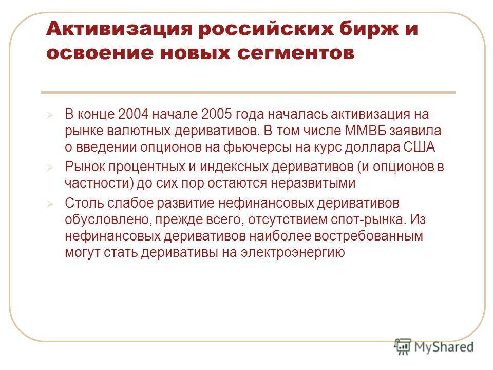 Активизация российских бирж и освоение новых сегментов В конце 2004 начале 2005 года началась активизация на рынке валютных деривативов. В том числе ММВБ заявила о введении опционов на фьючерсы на курс доллара США Рынок процентных и индексных дериват