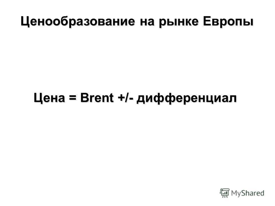 Цена = Brent +/- дифференциал Ценообразование на рынке Европы