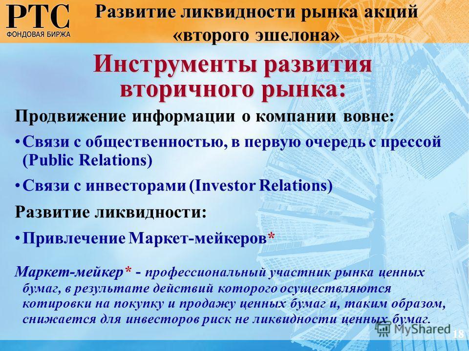 Развитие ликвидности Развитие ликвидности рынка акций «второго эшелона» Продвижение информации о компании вовне: Связи с общественностью, в первую очередь с прессой (Public Relations) Связи с инвесторами (Investor Relations) Развитие ликвидности: При